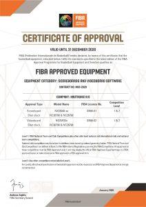 FIBA certificate for 2020